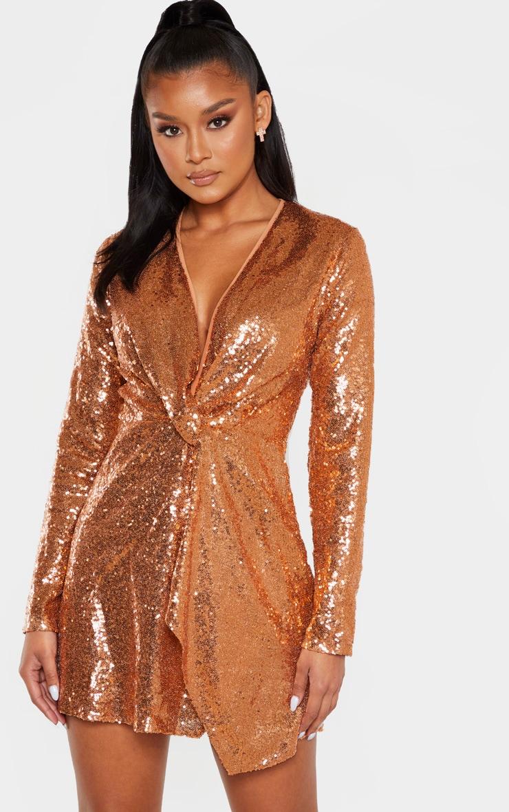 Bronze Sequin Twist Front Bodycon Dress 4
