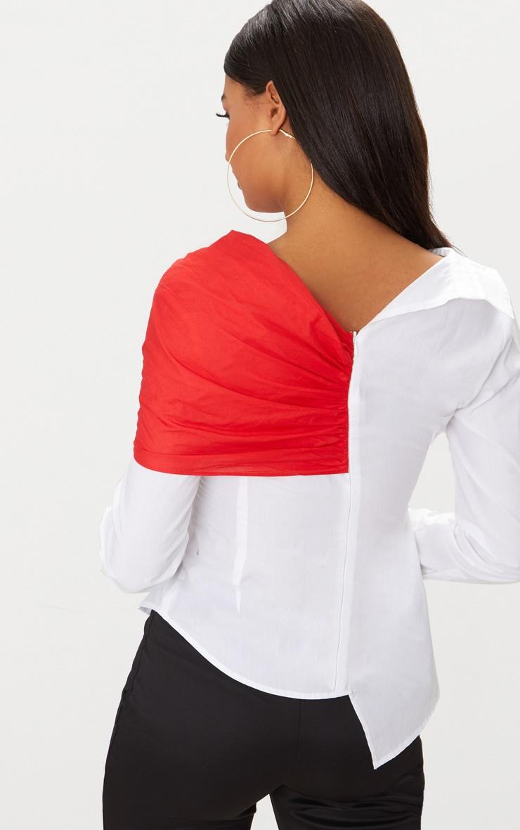 White Colour Block Off The Shoulder Shirt  2