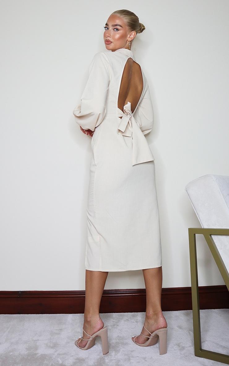 Stone Linen Mix Open Back Tie Detail Midi Dress 2