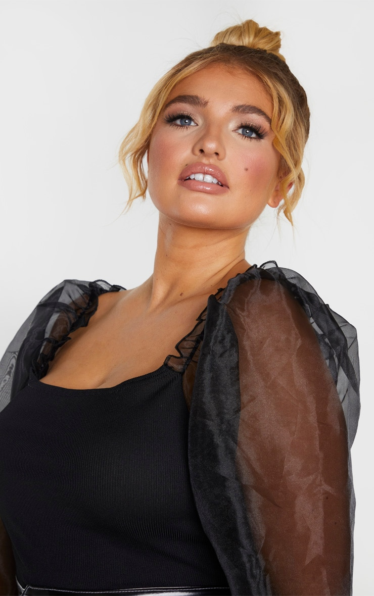 Plus Black Organza Long Sleeve Top 5