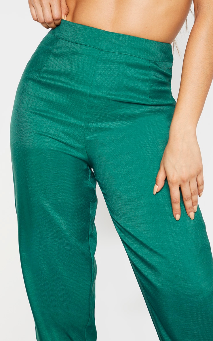 Tall Emerald Green Wide Leg Slim Cuff Suit Trousers 4