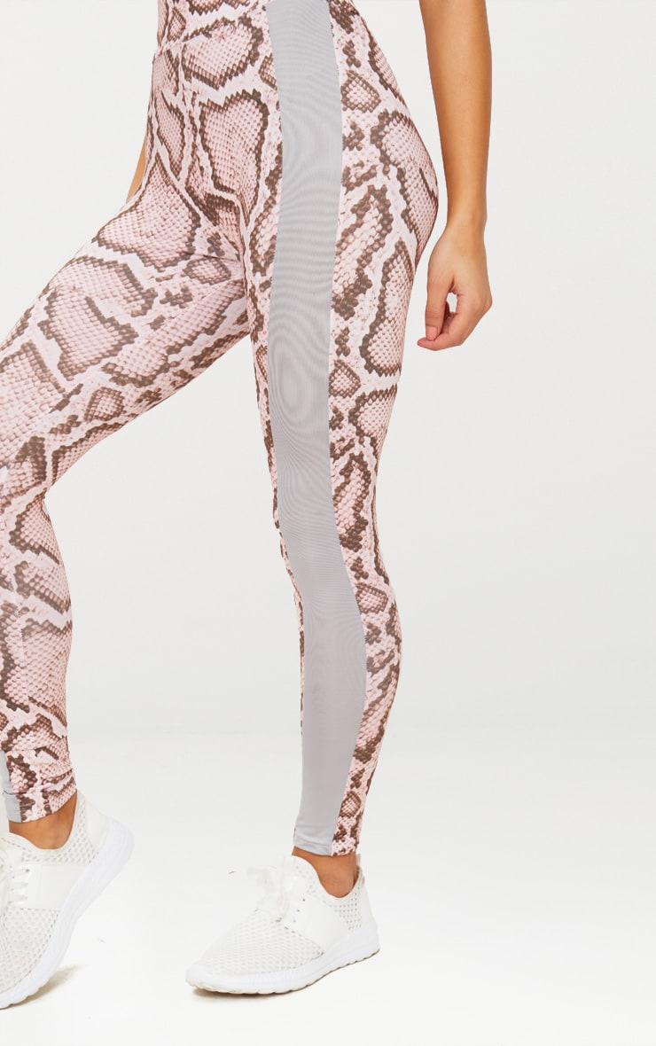 Pink Snake Contrast Gym Leggings 6