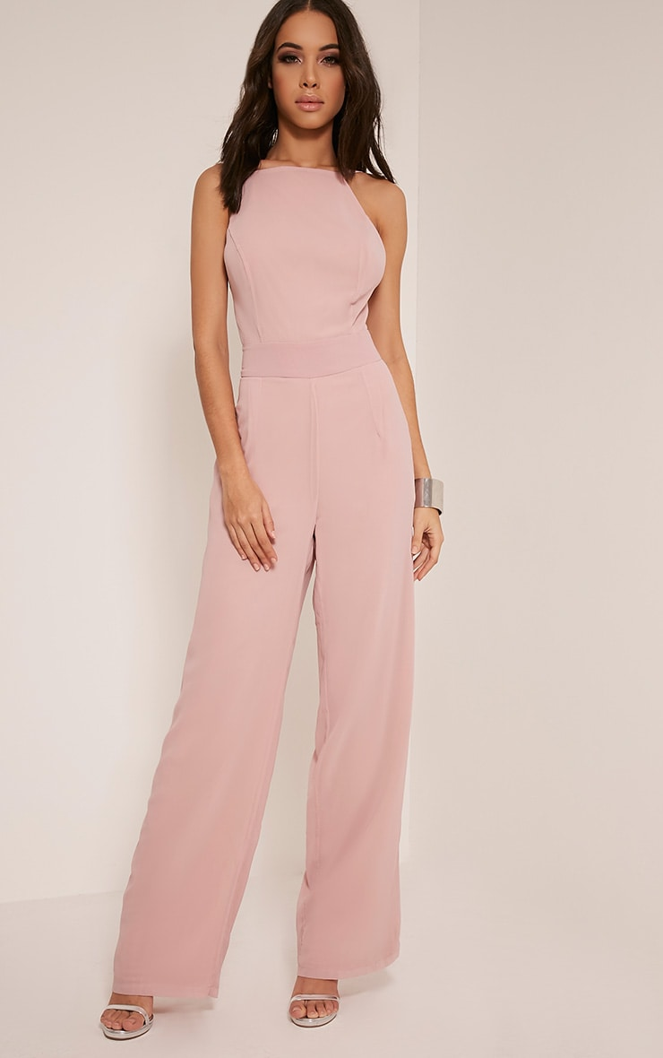 Teeah Dusty Pink High Neck Jumpsuit Jumpsuits Playsuits