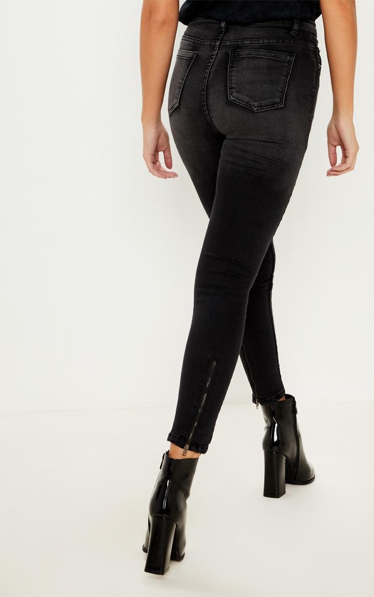 Charcoal Grey Zip Back Skinny Jean  5