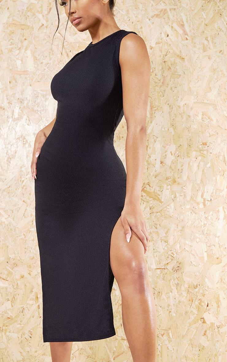 Black Recycled Wide Rib Split High Neck Midi Dress 4