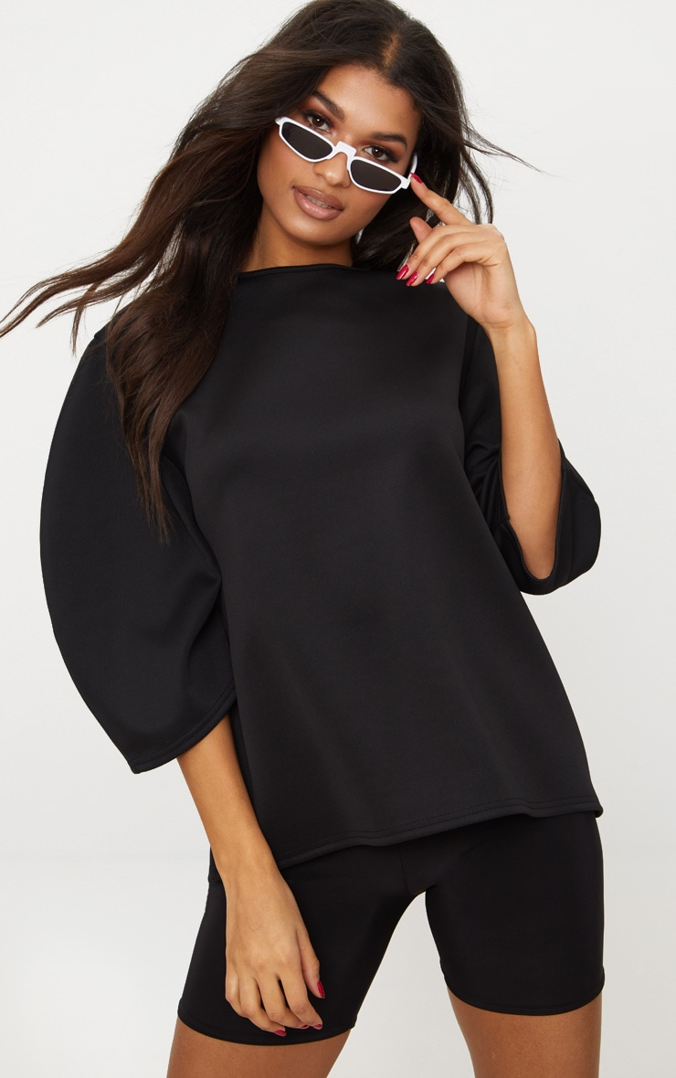 Black Scuba Oversized Top  1