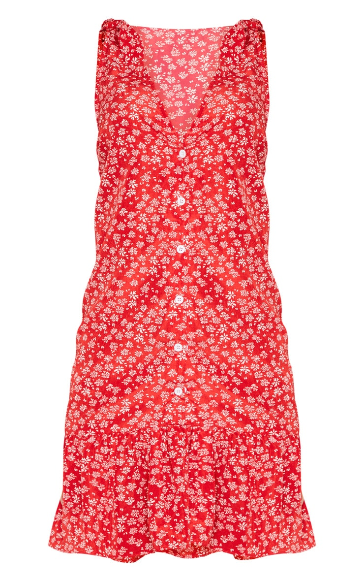 Red Ditsy Floral Button Through Shift Dress 4