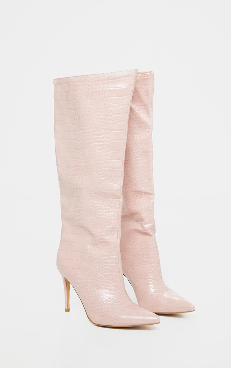 Dusty Pink Croc Calf Boots 3