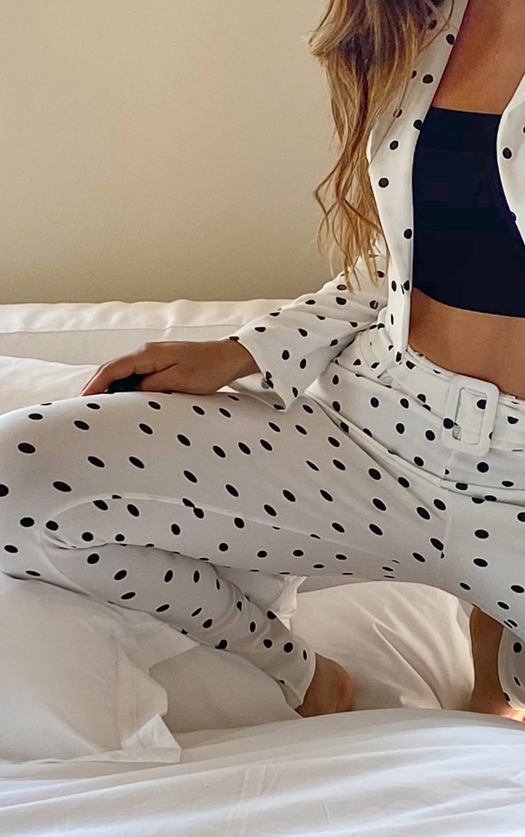 Tall White Polka Dot High Waisted Belted Pants 3