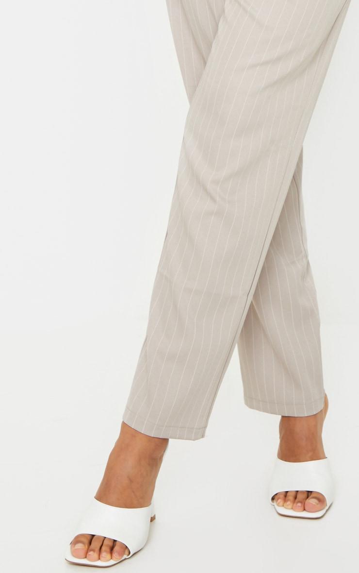 Light Grey Pinstripe Belted Straight Leg Pants 4