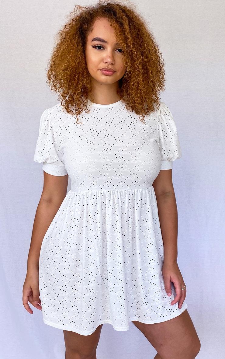Plus White Broderie Cap Sleeve Smock Dress 1