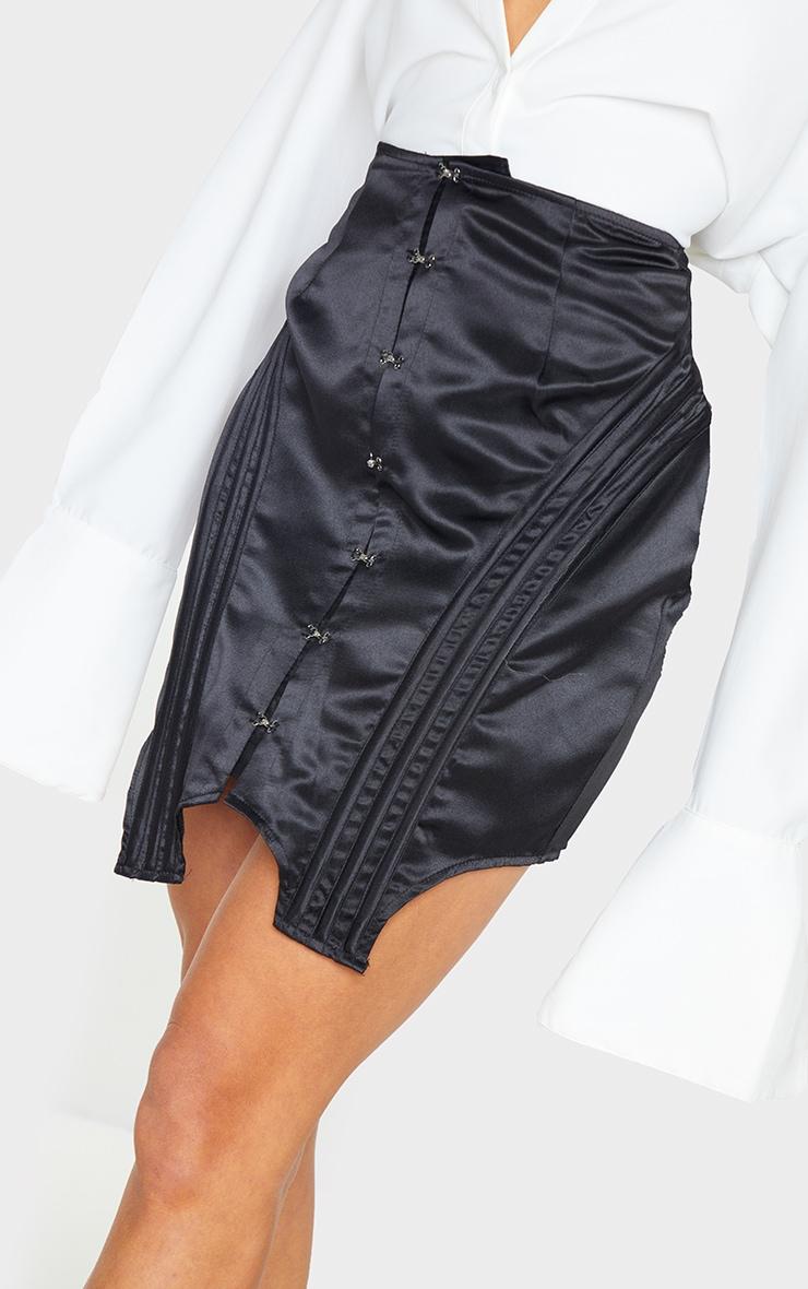 Black Satin Hook and Eye Panelled Detail Mini Skirt 5