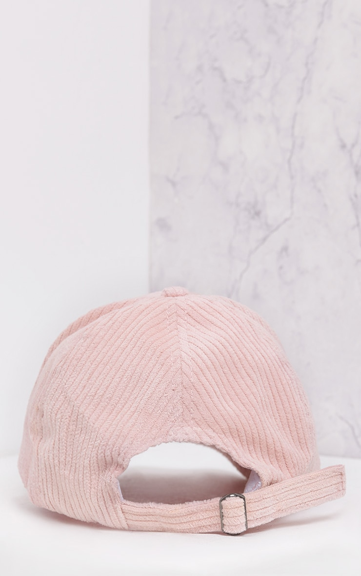 Marne Baby Pink Corduroy Baseball Cap 5