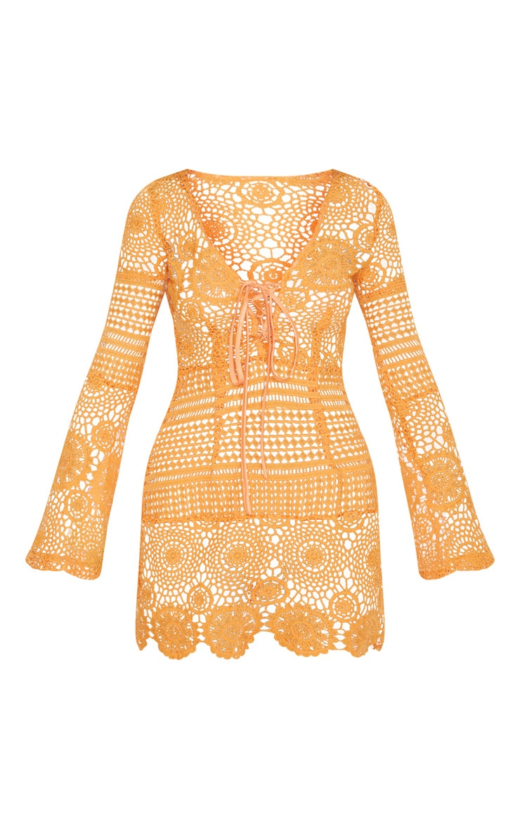 Tangerine Tie Front Flare Sleeve Crochet Lace Bodycon Dress 3