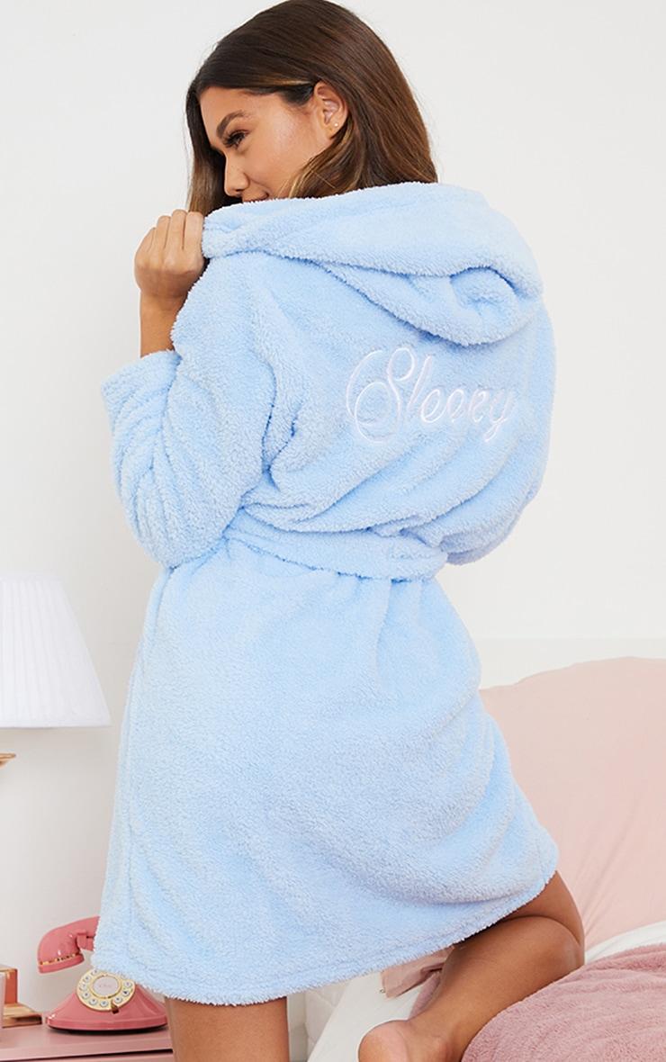 Baby Blue Sleepy Slogan Fluffy Dressing Gown 1