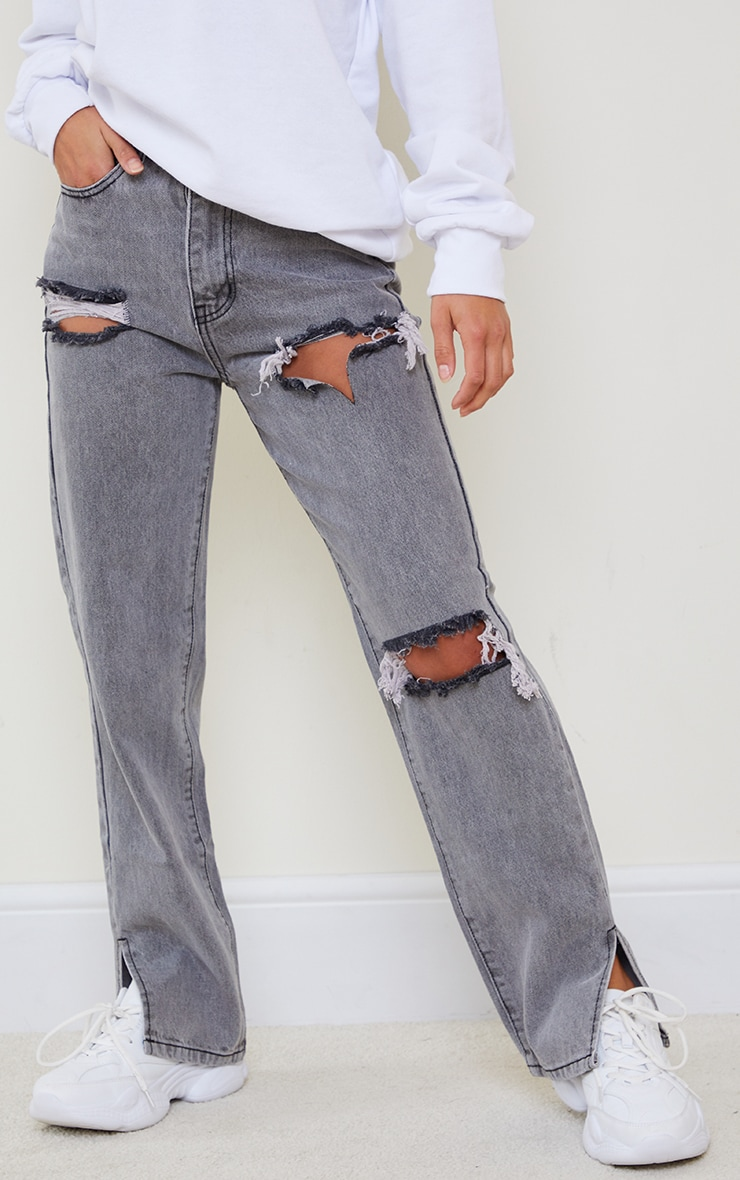 Petite Grey Distressed Split Hem Jeans 2