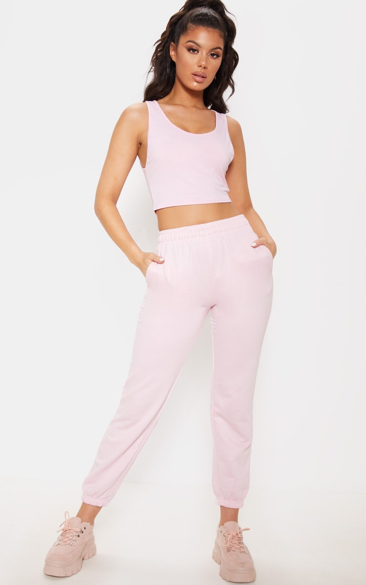 Basic Baby Pink Scoop Neck Jersey Vest Top 4