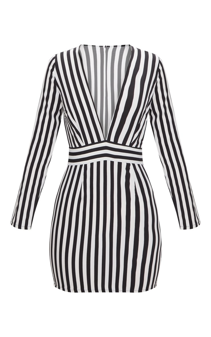 Black Striped Long Sleeved Bodycon Dress 3