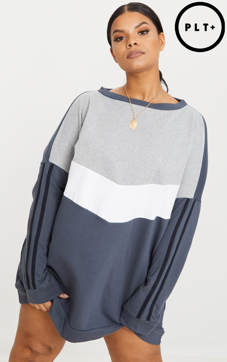 Plus Charcoal Chevron Panel Oversized Sweater Dress 1