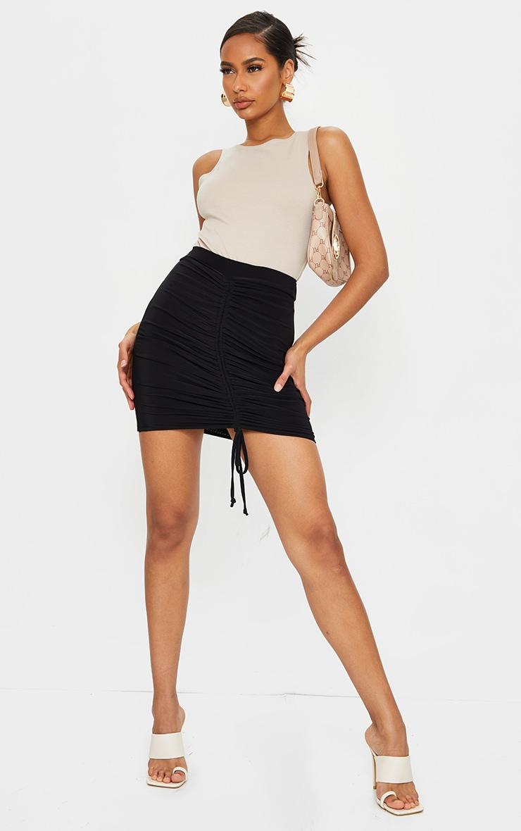 Black Ruched Front Slinky Mini Skirt 4