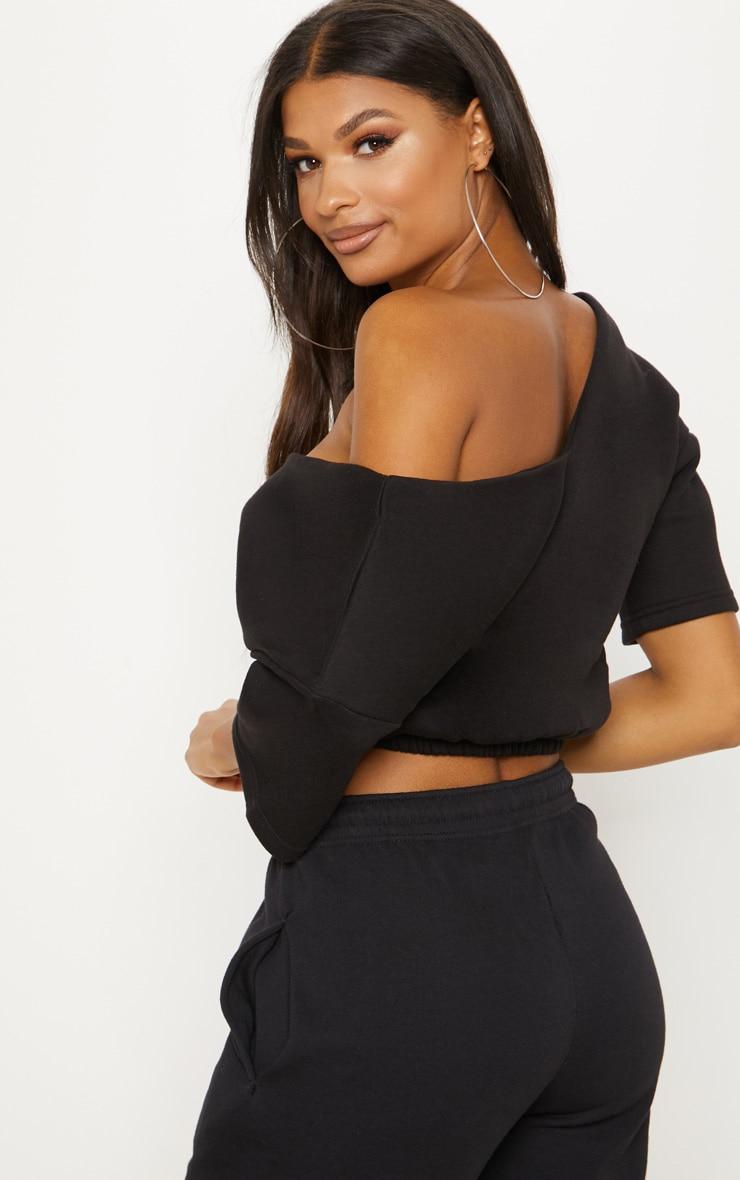 Black Crop Off Shoulder Short Sleeve Sweater  2