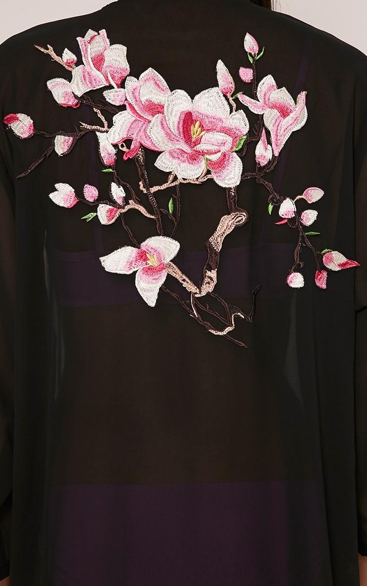Sharley Black Floral Embroidery Maxi Kimono 7