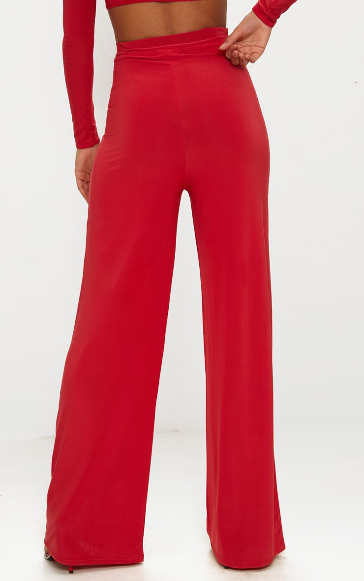 Red Slinky Wide Leg Pants  4