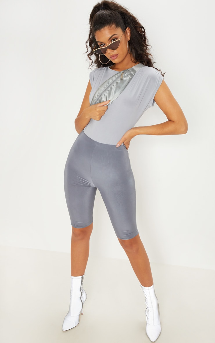 Grey Slinky Ruched Shoulder Bodysuit