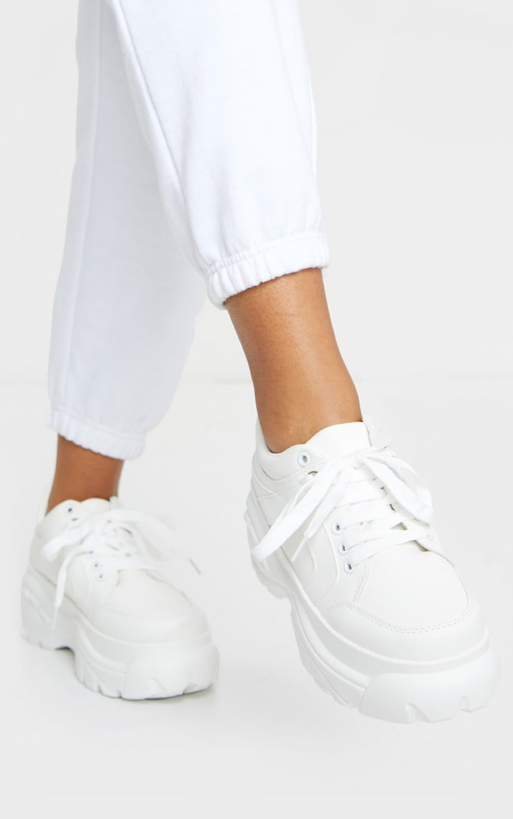 White Chunky Lace Up Trainers 2