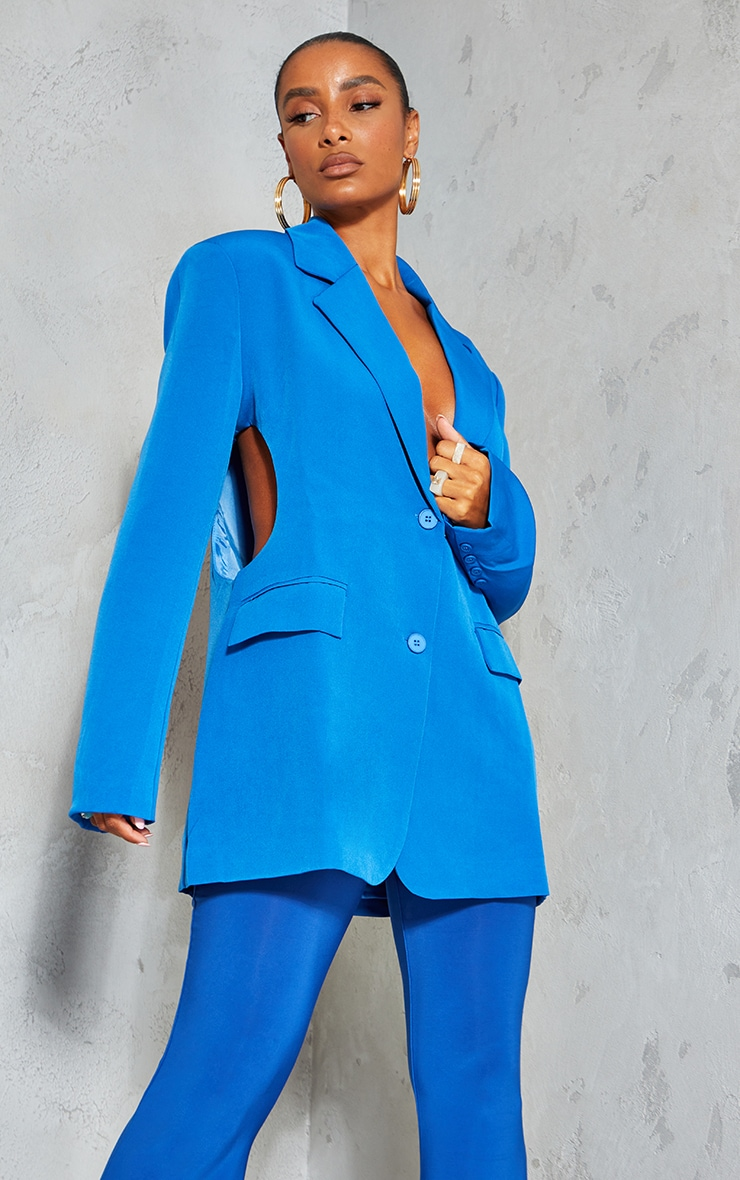 Blue Woven Cut Out Oversized Blazer 1