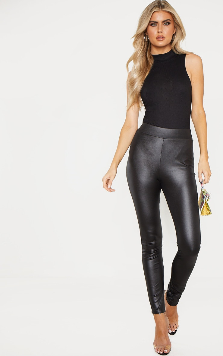 5070d4553c7594 Tall Black Wet Look Skinny Trouser | Tall | PrettyLittleThing USA