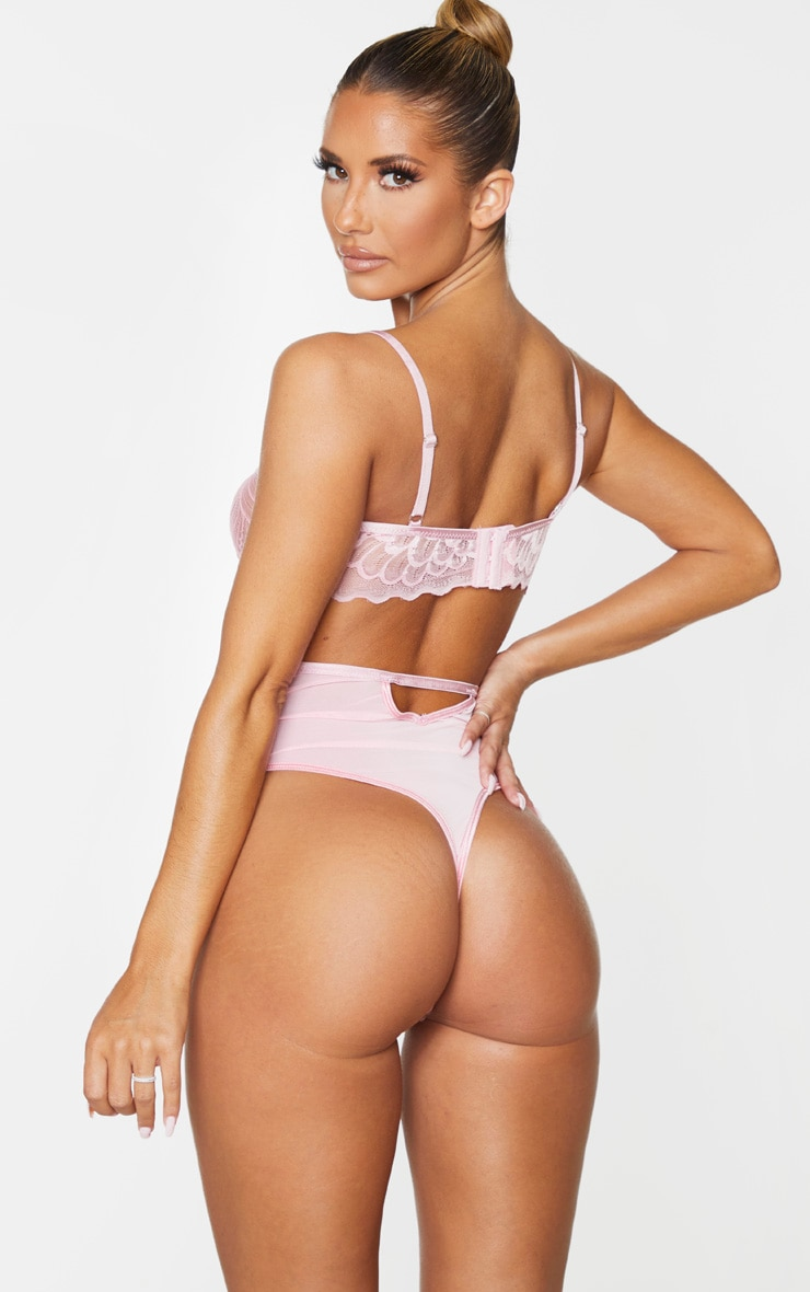 Baby Pink Underwired Cut Out Lace Body 2