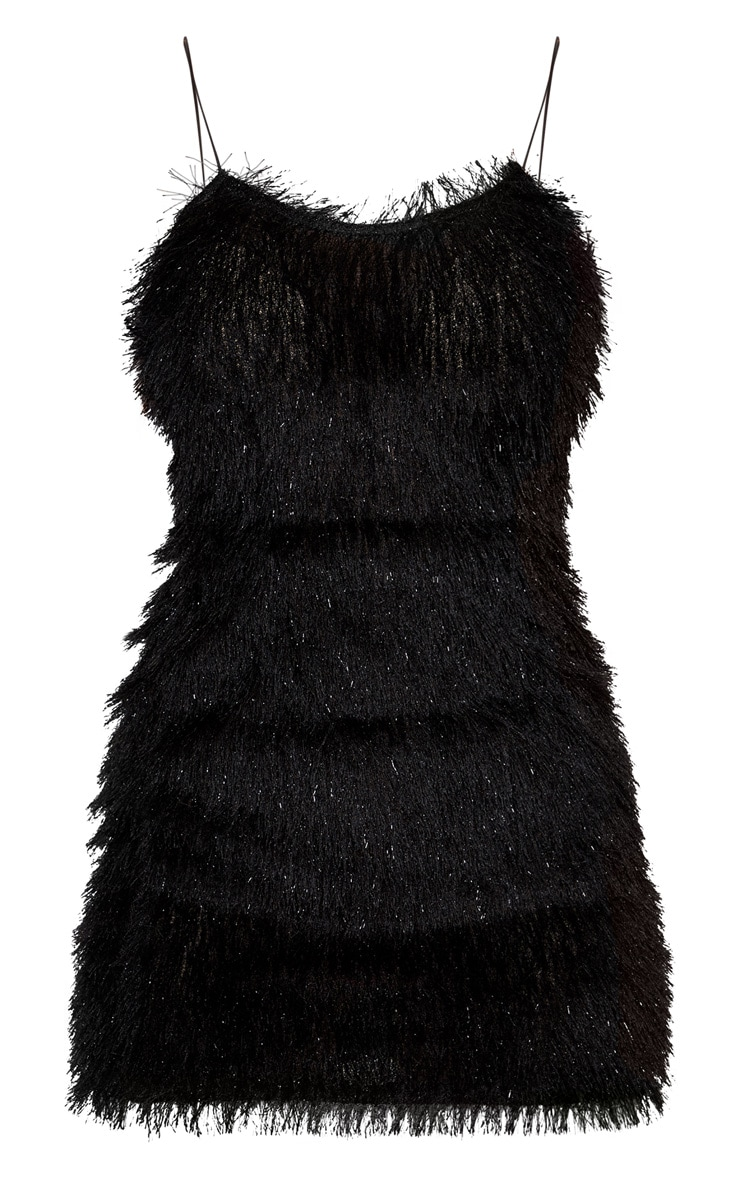 Black Tiered Fringed Strappy Bodycon Dress 3