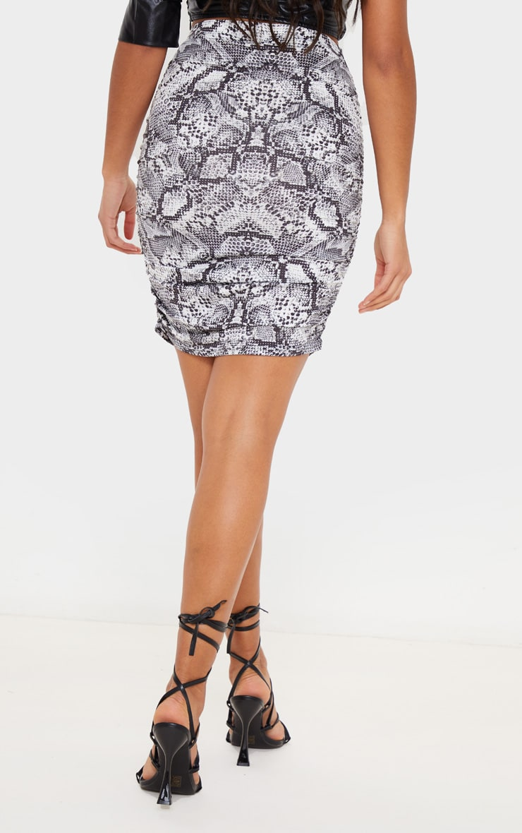 Grey Snake Print Slinky Ruched Mini Skirt 4