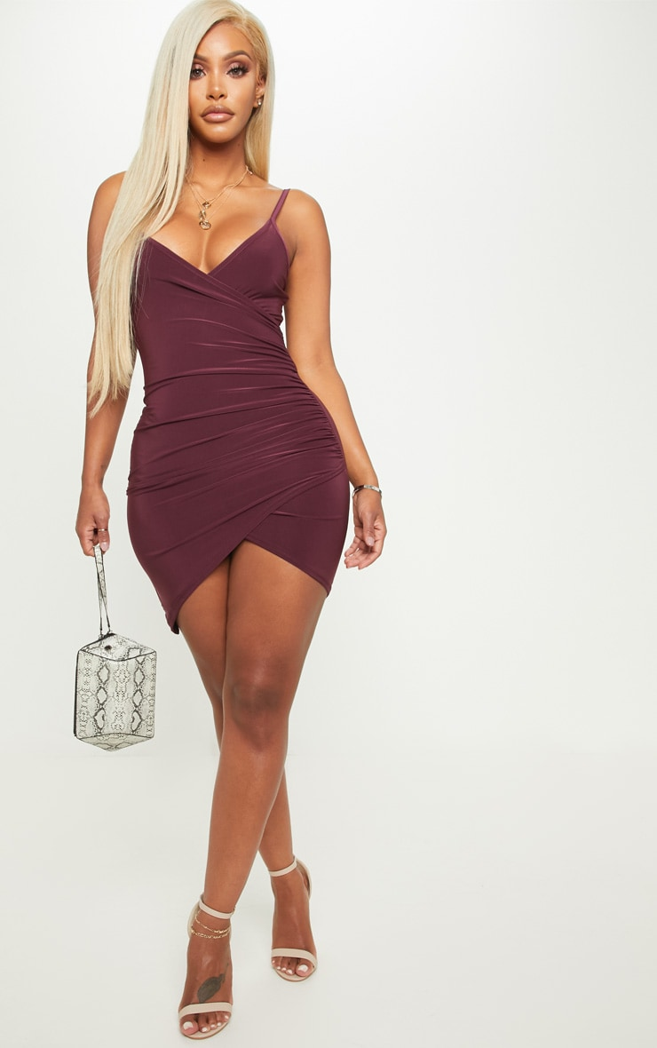 Shape Burgundy Ruched Side Strappy Bodycon Dress 4