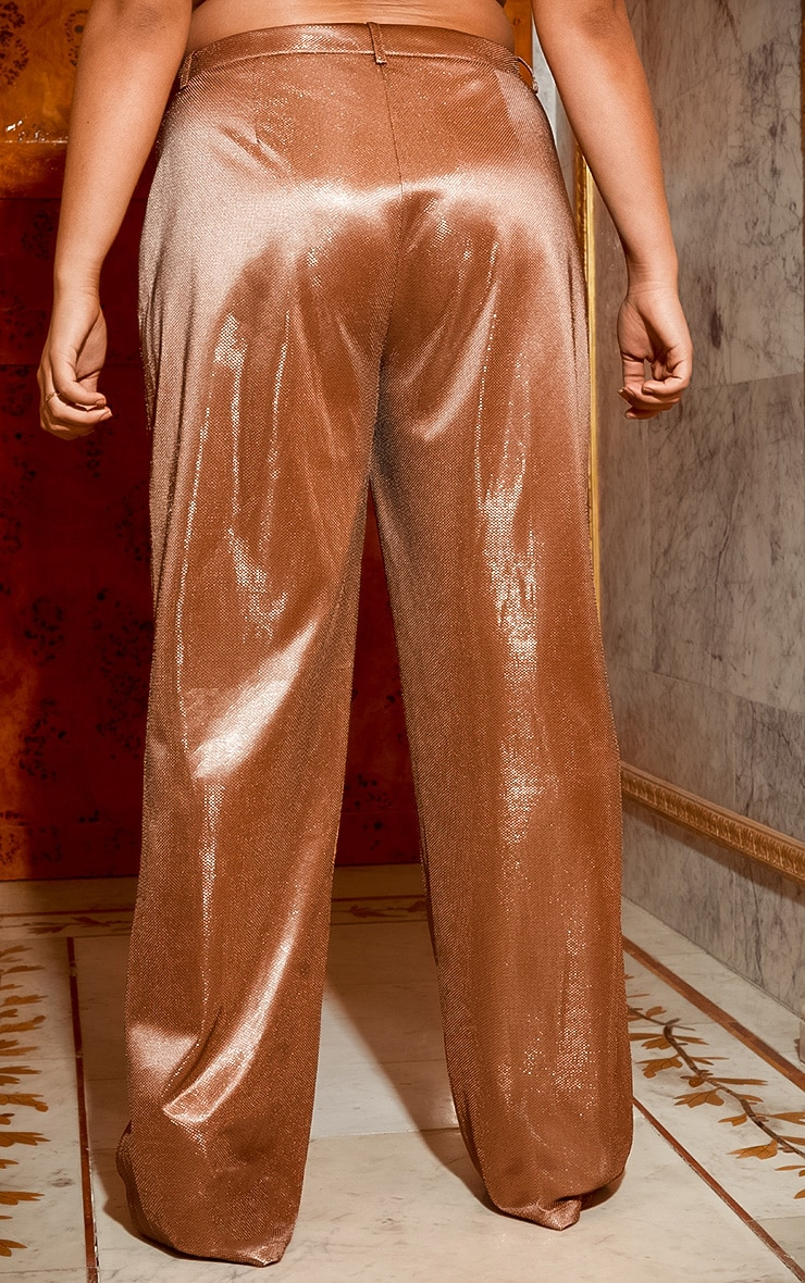 Plus Copper Metallic Wide Leg Pants 5