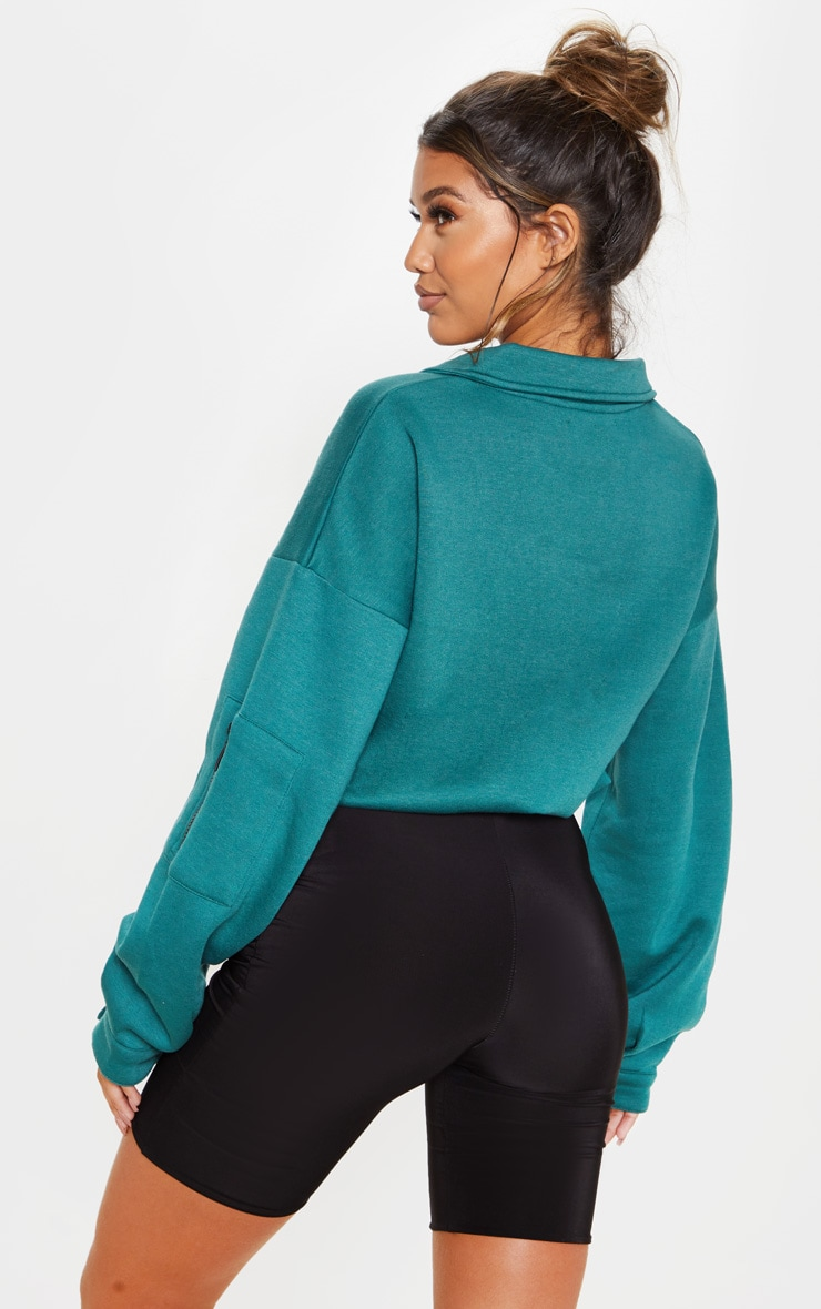 Jasper Green Oversized Zip Front Sweater 2