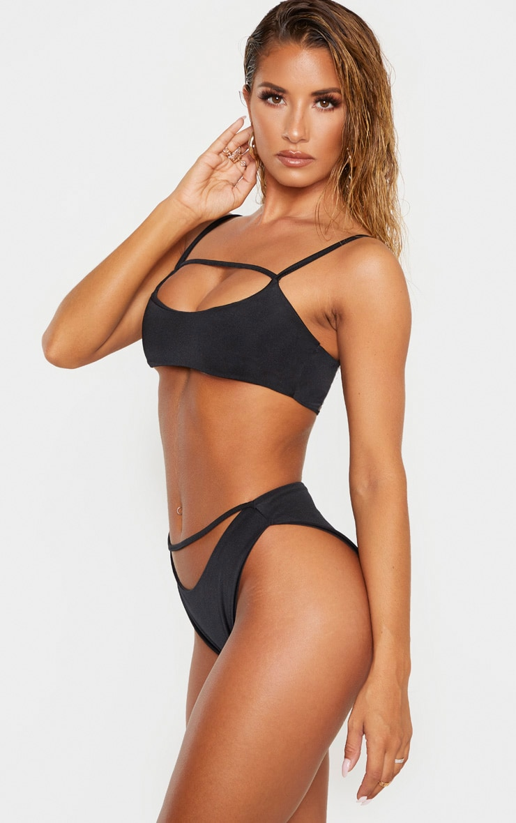 Black Strap Front High Leg Bikini Bottom 2