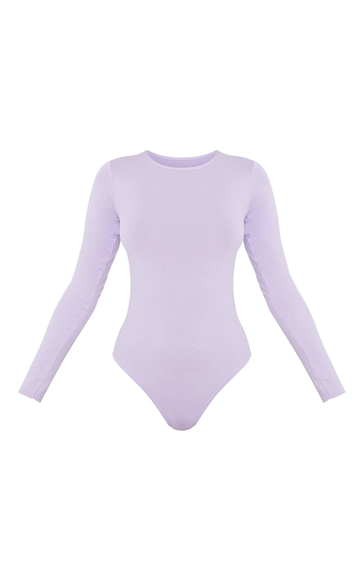 Basic Lilac  Crew Neck Long Sleeve Bodysuit 5