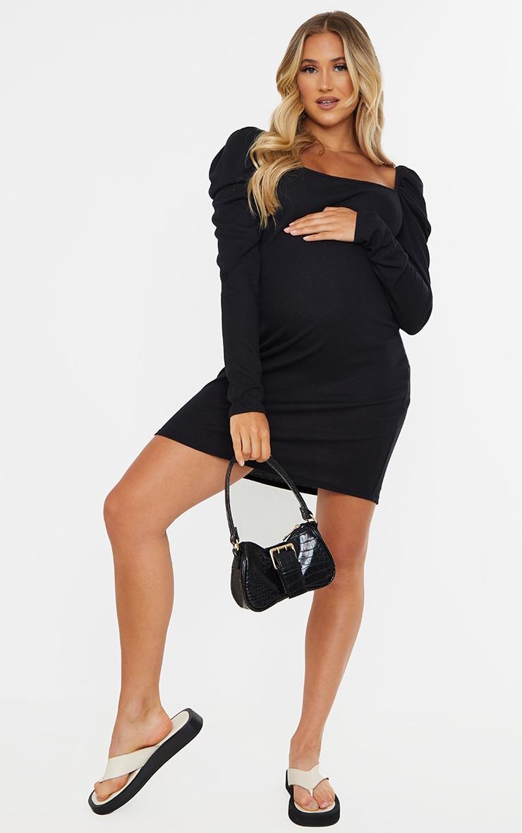 Maternity Black Puff Shoulder Long Sleeve Rib Mini Dress 3