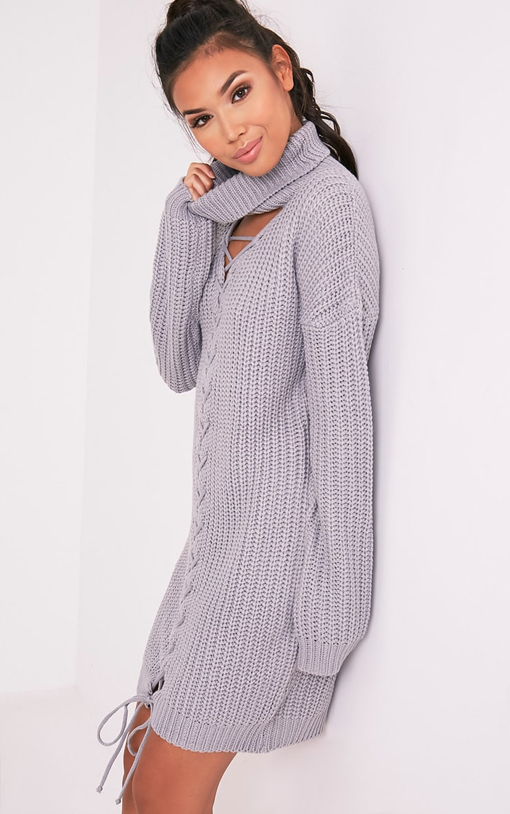 Josalinda Grey Knitted Front Tie detail Roll Neck Dress 4