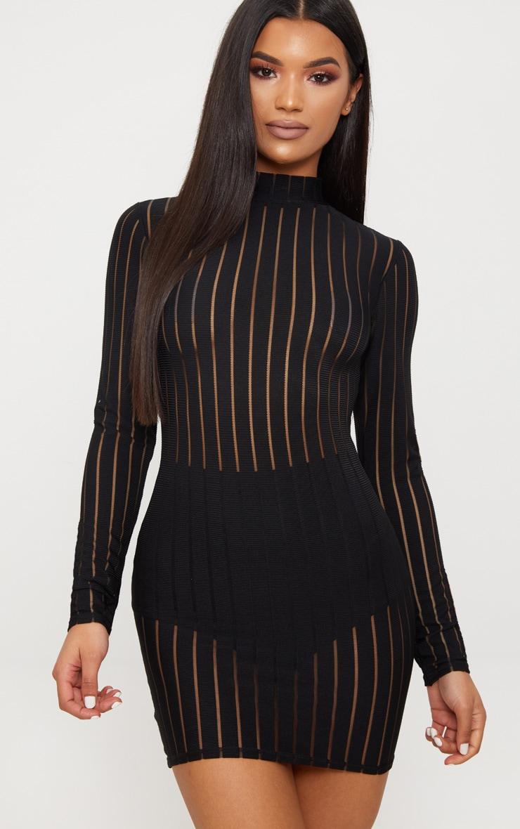Black Striped Mesh High Neck Bodycon Dress 1