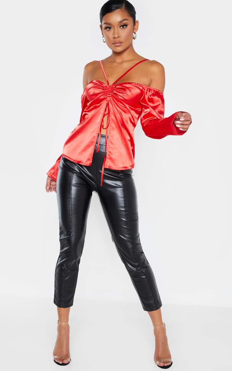 Red Satin Ruched Bust Front Spilt Blouse  4