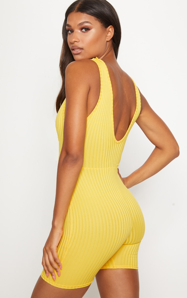 Yellow Ribbed Plunge Sleeveless Unitard 2