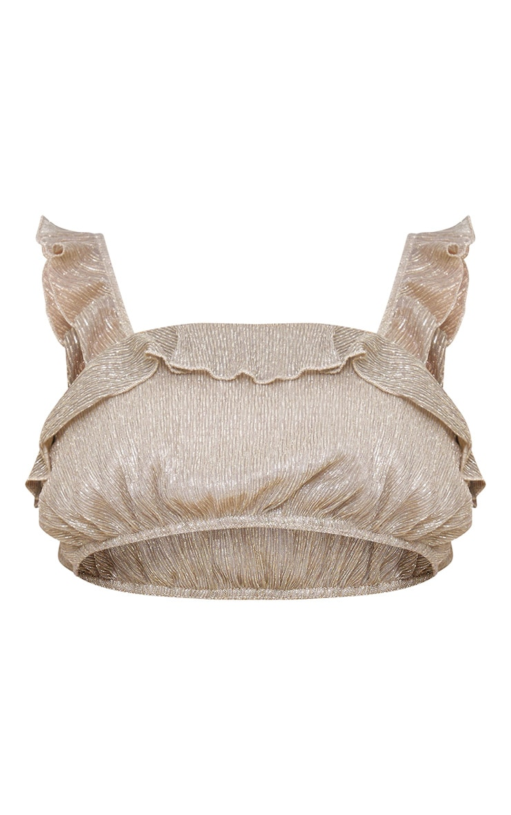 Gold Metallic Frill Strappy Crop Top 3