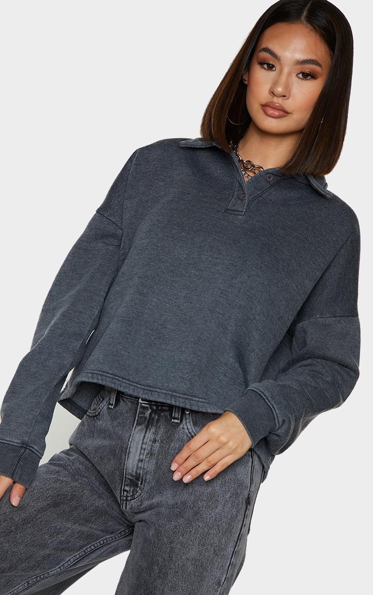 Grey Washed Oversized Sweat Polo Shirt 4