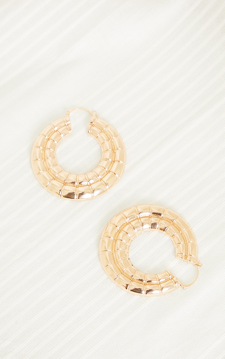 Gold Oversized Chunky Square Ribbed Hoop Earrings 3