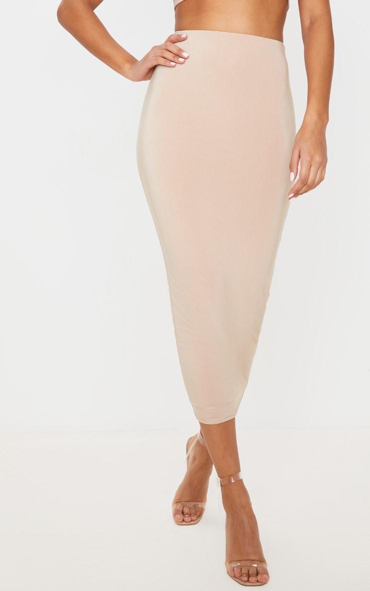 Stone Second Skin Slinky Longline Midaxi Skirt  2