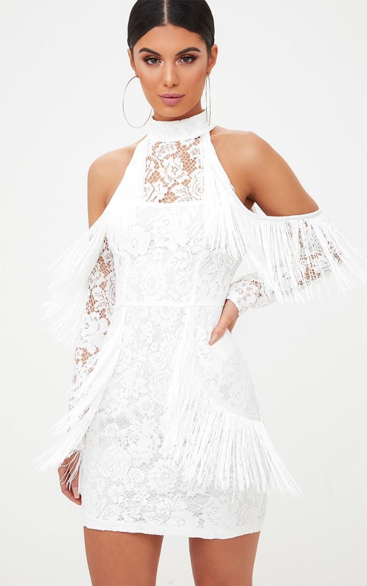 White Lace Tassel Detail Cold Shoulder Bodycon Dress 6