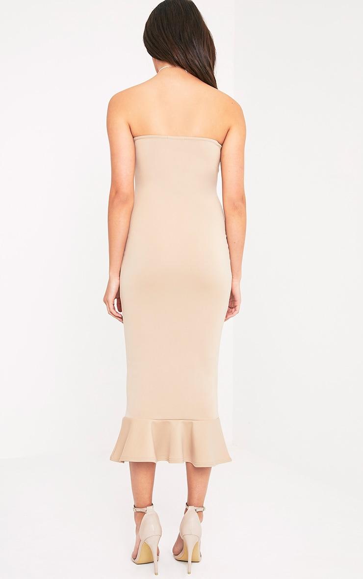 Isabella Taupe Bandeau Frill Hem Midaxi Dress 2